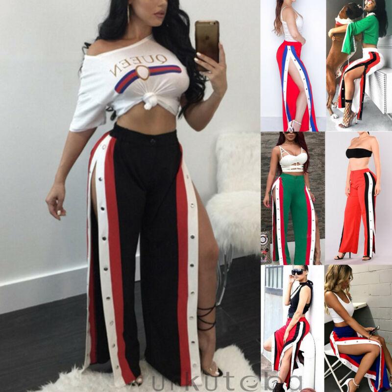 Fashion Women Cut Split Side Buttons Wide Leg Long Pants Casual High Waist Loose Trousers Plus Size