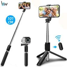 Selfie Stick Stativ mit Drahtlose Bluetooth Fernbedienung einstellbaren 100cm Leichte, Tragbare für Telefon und GoPro