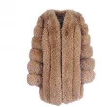 Женское зимнее пушистое пальто из искусственного меха, Высококачественная Толстая имитация меха лисы, женская теплая верхняя одежда