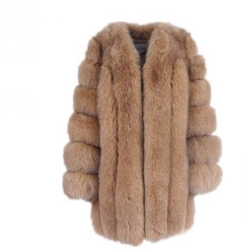 Women Winter Fluffy Faux Fur Coat High Quality Thick Imitated Fox Fur Overcoat Female Warm Outwear