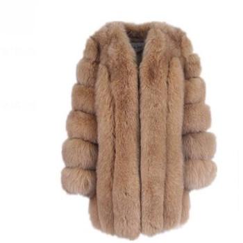 Kobiety zimowy puszysty płaszcz ze sztucznego futra wysokiej jakości gruby naśladowany płaszcz z futra lisa kobieta ciepła odzież wierzchnia tanie i dobre opinie msaiss Faux leather Faux futra Przycisk zadaszone Fur faux futra Grube ciepłe futro High Street Szeroki zwężone O-neck