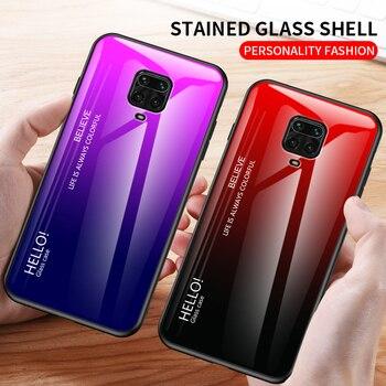 Para xiaomi redmi note 9 pro capa de vidro temperado de luxo gradiente de silicone macio capa para xiaomi redmi note 9 s 9 pro case