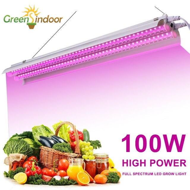 전체 스펙트럼 LED 성장 빛 100W 실내 식물 성장 램프 Fitolampy Phyto 램프 Led 스트립 성장 텐트 상자 식물 씨앗 꽃
