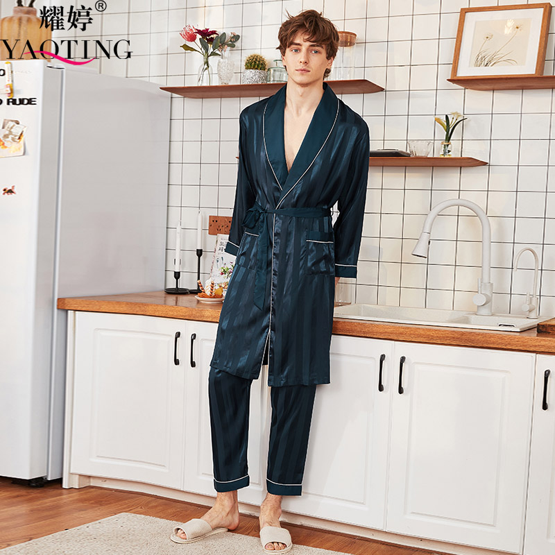 YAO TING Men Pajamas Night-robe Pyjama Trousers Silk Cloth Comfortable Autumn Homewear V-neck Fashion Nightwear