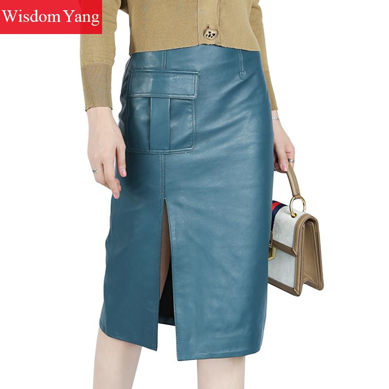 Autumn Real Sheep Skin Genuine Leather Wrap Skirt High Waisted Midi Pencil Skirt Women Party Sexy Korean Ladies Blue Black Skirt