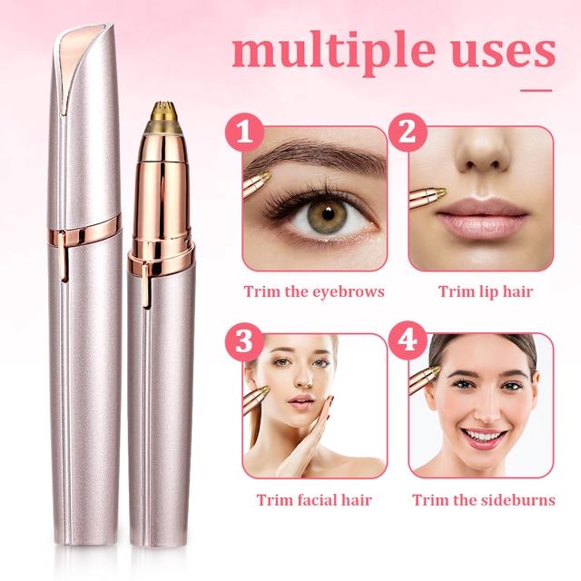 Electric Eyebrow Trimmer Makeup Painless Eye Brow Epilator Portable Facial Hair Remover Mini Eye Brow Shaver