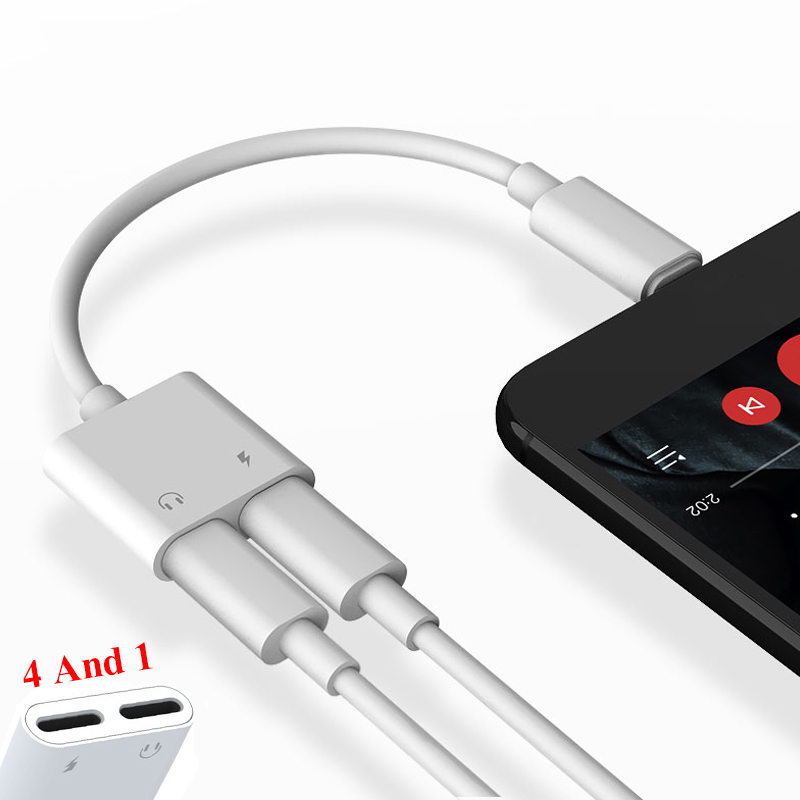 2 In 1 Double Audio Charging Adapter For IPhone XS 8 8 Plus 7 6 6S Headphone Jack Charger Cable Connector For Headphone Adapter