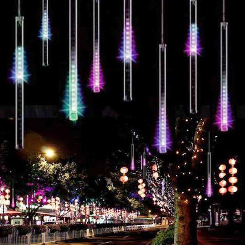Waterproof 3 Colors EU Plug Garland 8 Tubes Led Light Meteor Shower Rain String Light 30cm 50cm Icicle Snowfall Xmas Decoration