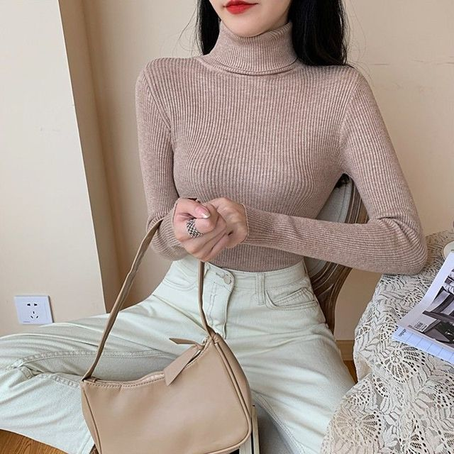 Women's Sweaters Autumn Winter Turtleneck Long Sleeve Casual Knitted Jumper Fashion Slim Elasticity Pullover Sweater Female 2021 4