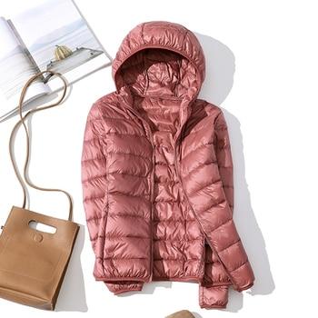 high quality 2019 New Autumn Winter Women Thin White Duck Down Jacket Parka Female Ultra Light Down Coat Short Tops Plus Size 2