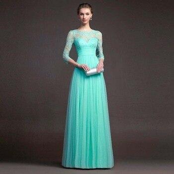BacklakeGirls 2019 Autumn Elegant Round Neck Long Sleeve A-line Chiffon Evening Dress Green Red Lace Evening Gowns Feest Jurken 3