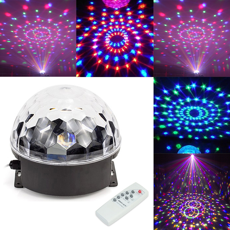 6 Color RGB MP3 Player Stage Light Disco LED Crystal Magic Ball Effect Lamp  LED Music Stage Light Party Crystal Remote Control