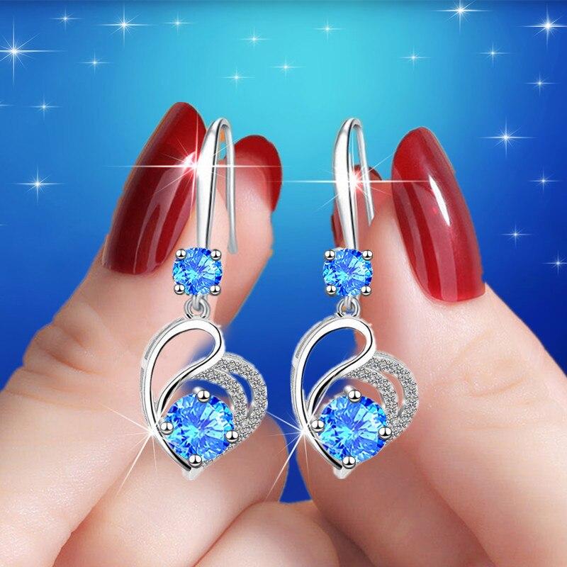 Blue Zircon Love Heart Female Luxury Drop Earrings For Women Dainty Jewelry Vintage Silver Color Crystal Stone Wedding Earrings