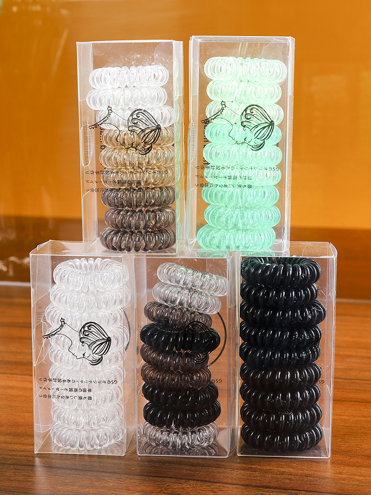 Scrunchies Telephone Cord-Wire Hair-Ring-Band Plastic Rubber Thin Colorful Women 3pcs/9pcs-Set