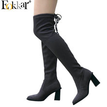 Eokkar 2020 Women Over The Knee High Boots Stretch Thigh High Boots Pointed Toe Square High Heel Winter Ladies Boots Size 34-43
