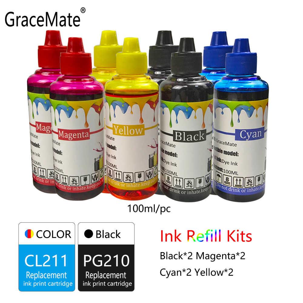 GraceMate PG210 CL211 طابعة الحبر الملء زجاجة حبر استبدال لكانون IP2700 IP2702 MP240 MP250 MP260 MP270 MP480 MP490