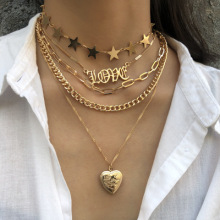 Fashion Charm Choker Necklaces For Women ZA Maxi Chunky Collar Gold Silver Love Heart Christmas Party Gift Jewelry Brincos 2019