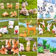 Fada-jardim-suprimentos filhote de cachorro esquilo decoração acessórios miniaturas estatueta animal artesanato presente mini flamingo sapo coelho