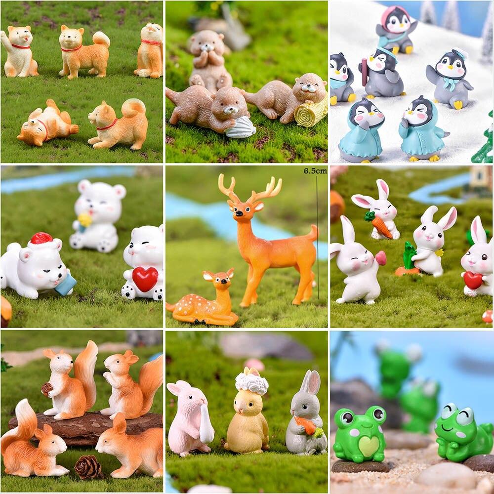 Fairy-Garden-Supplies Puppy Squirrel Decoration Miniatures Animal Model Anime Figurine Gift Mini Flamingo Frog Rabbit