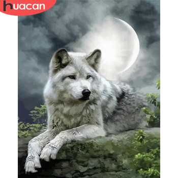 HUACAN DIY Pictures By Number Animal Kits Painting By Numbers Wolf Drawing On Canvas Hand Painted Paintings Art Gift Home Decor