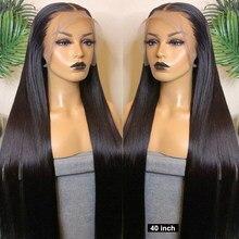 180 плотность 30 40 дюймов прямые безклеевые 13X4 кружевные передние человеческие волосы парики для женщин бразильские кружевные передние al пар...