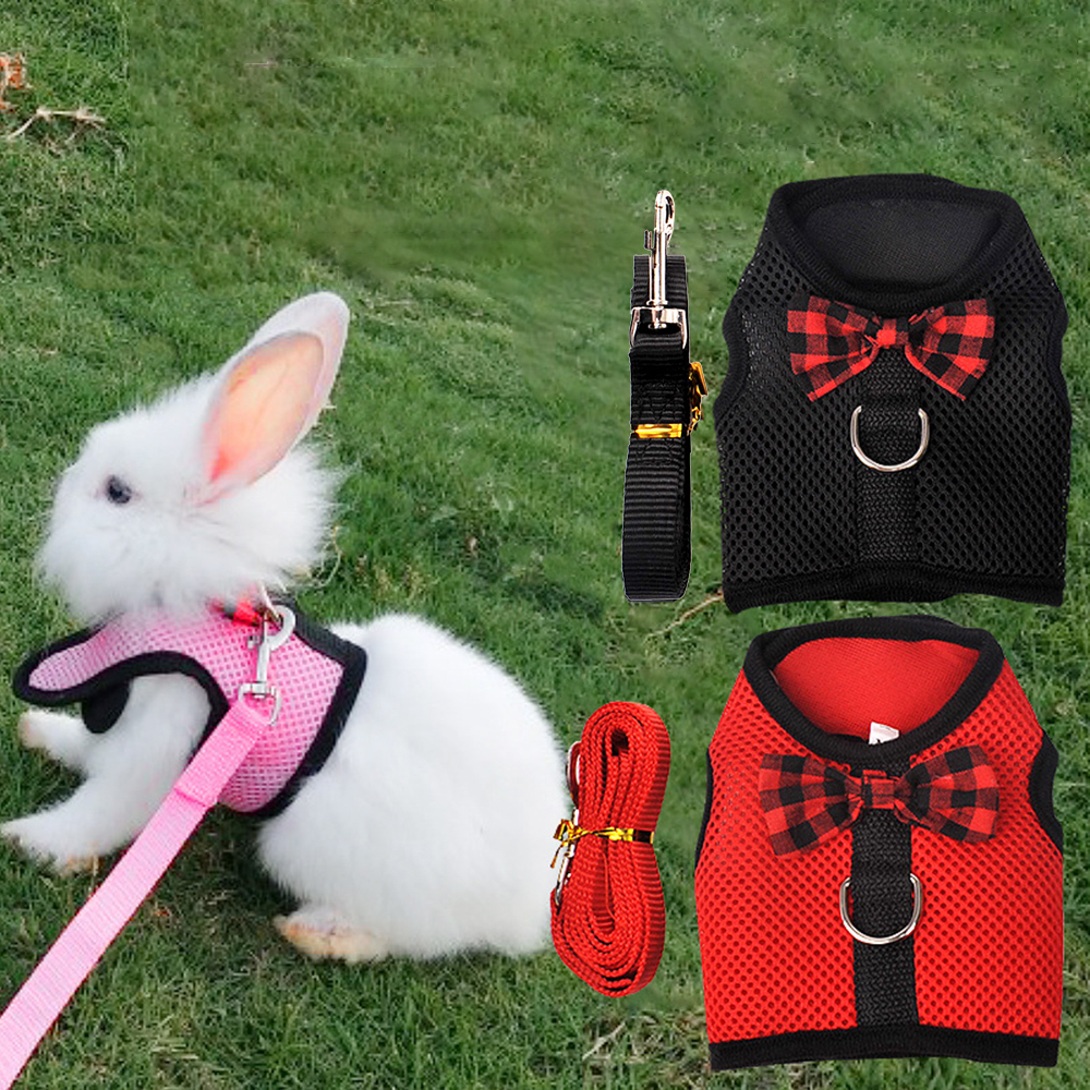 Bunny Mesh Chest Strap Harnesses Harness With Leash Ferret Guinea Pig Small Animals Pet Bunny Supplies Rabbits Hamster Vest