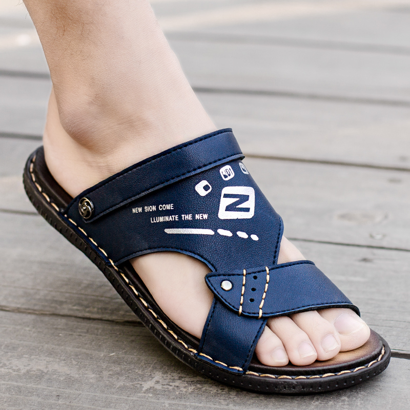 Sandals Men 2019 New Dual-use Leather Sandals Trend Fashion Wear Men's Slippers Beach Summer Personality