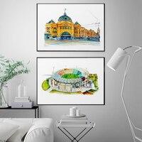 Póster Artístico con impresión de paisaje de ciudad, imágenes de pared para decoración de dormitorio, arte de arte, cajas de playa de Miami