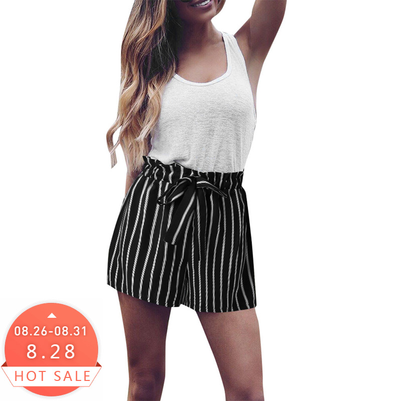 2019 Women Stripe Bandage Fashion Lace Up Shorts Fashion Women Lady Sexy Summer Casual Shorts High Waist Short Beach Bow Shorts