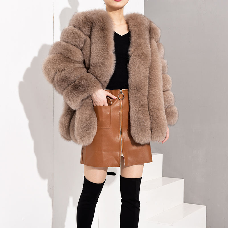Tatyana Furclub Real Fox Fur Coats Women New Luxury Fur Jacket Warm Thick Leather Vertical Stripes Female Natural Fur Coat