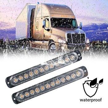 1PC 12V 24V 12 LED Strobe Warning Light Bar Flashing Truck Super Bright Emergency Caution Waterproof Amber for Auto Car SUV Van