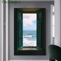 Pintura en lienzo de paisaje exterior de ventana nórdica, pósteres de arte de pared estrellada para sala de estar, decoración del hogar, Impresión de imagen artística moderna