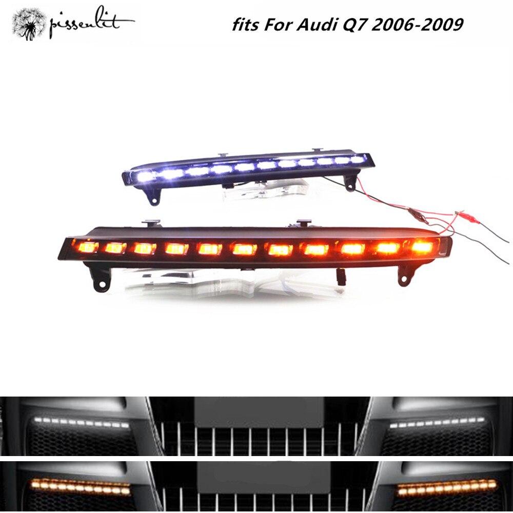 Audi için uyar Q7 2006-2009 araba aksesuarları beyaz ışıklar gündüz farı sarı dönüş lambası LED sis lambası araç ışıkları