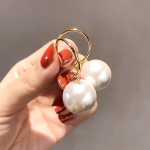 1 Pair Trendy Style Elegant Large Round White Pearl Hoop Drop Earrings Big Ball Bead Pendant Dangle Earrings for Women Gift(China)