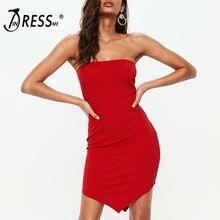 INDRESSME Сексуальное Женское Бандажное платье красное сексуальное без бретелек с открытой спиной асимметричное облегающее мини-платье вечерние Клубные рождественские платья