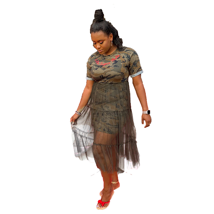 2020 Spring And Summer Hot Sell Women Dress Gauze With Short Sleeves Party Dresses Camouflage Printed Women Sexy Dress