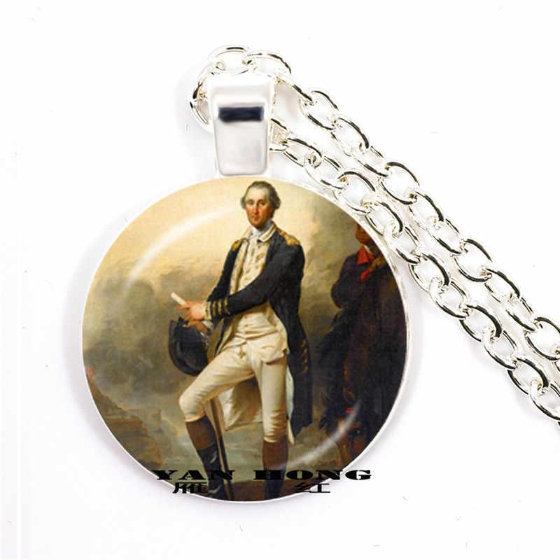 וושינגטון של הנשיא הראשון ב 1789, פוליטיקאי, אסטרטג, מהפכני, בעבודת יד מתכת שרשרת, זכוכית מעגל המפה, souven