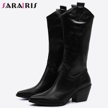 SARAIRIS Trendy Plus Size 33-45 Western Boots Women 2019 Winter Pointed Toe mid-calf Boots Ladies High Heels Shoes Woman цена 2017