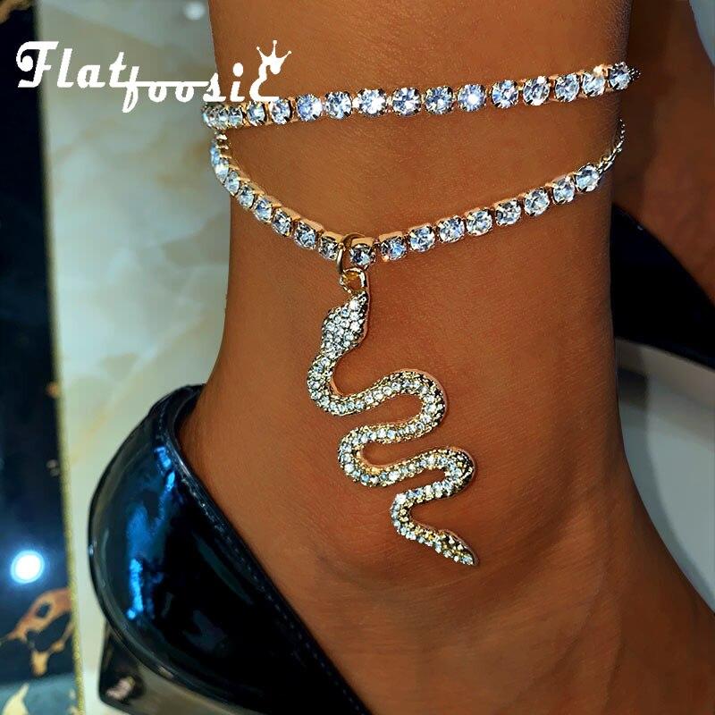 Женский браслет на щиколотке Flatfoosie, панк, змеиные стразы, золотой цвет, цепочка для тенниса, модные ювелирные изделия для ног