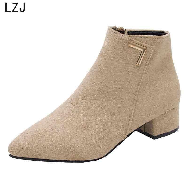 LZJ Thời Trang Giày Bốt Nữ Da Thật Giày Thấp Giày Cao Gót Độn Người Phụ Nữ Mũi Nhọn Cao Su Mắt Cá Chân Giày Đen Đỏ Zapatos mujer