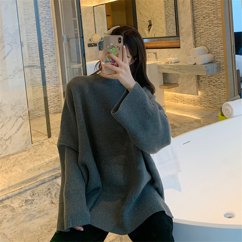 Focal20 Streetwear Drawstring Solid Women Sweater Top Loose V Neck Female Pullovers Jumpers Oversize Autumn Lady Sweaters Tops 5