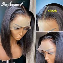 Rosabeity brasileiro curto bob remy em linha reta 13x4 frente do laço perucas de cabelo humano peruca frontal do laço para preto