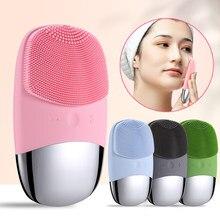 Ultra sônico silicone escova de limpeza facial sônica elétrica rosto limpador lavagem massagem escova rosto cuidados com a pele ferramentas recarregável