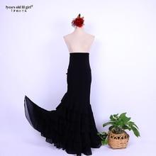 7years Old Lil Girl 2021 New Spanish Dance Dress Flamenco Practice Skirt Multilayer Wear WomenDTT31