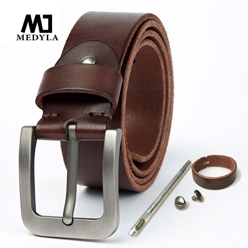 MEDYLA Brand Italian Leather Belt Men Hard Brushed Steel Buckle Soft Original Leather Mens Genuine Leather Belt AccessoriesMens Belts   -