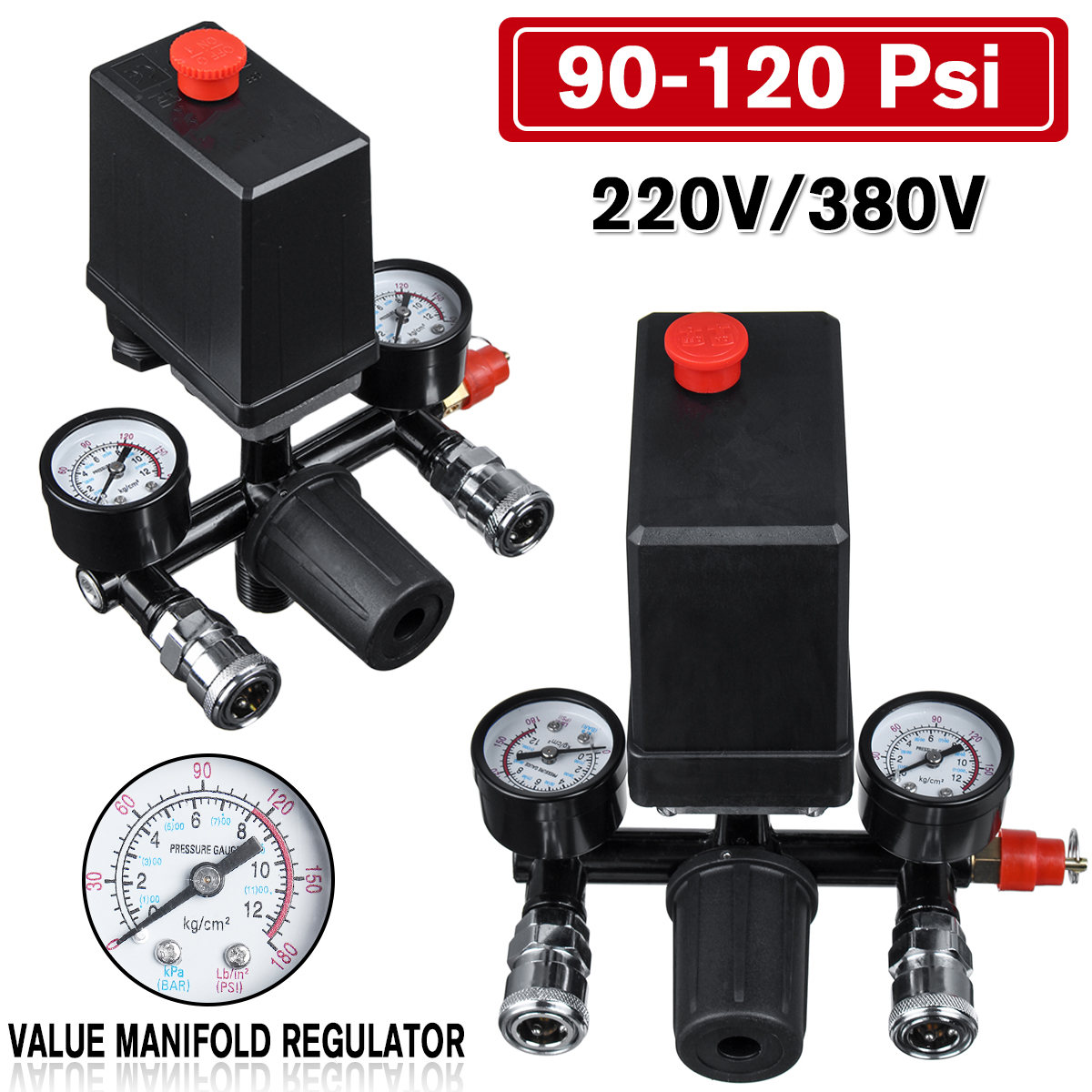 Air Compressor Pressure Valve Switch Manifold Relief Regulator Gauges 120PSI
