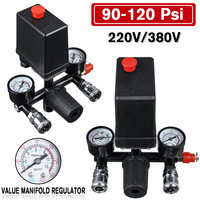 90 120 psi Air Compressor with Pressure Switch Control Valve Manifold Relief Regulator with Gauge 220V/380V|Pneumatic Parts|   -