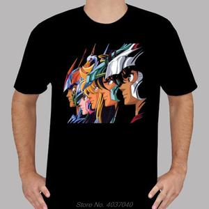 Black T-Shirt Phoenix Saint Harajuku Seiya--Pegasus Retro Cartoon Cotton Tees Hot-Sale