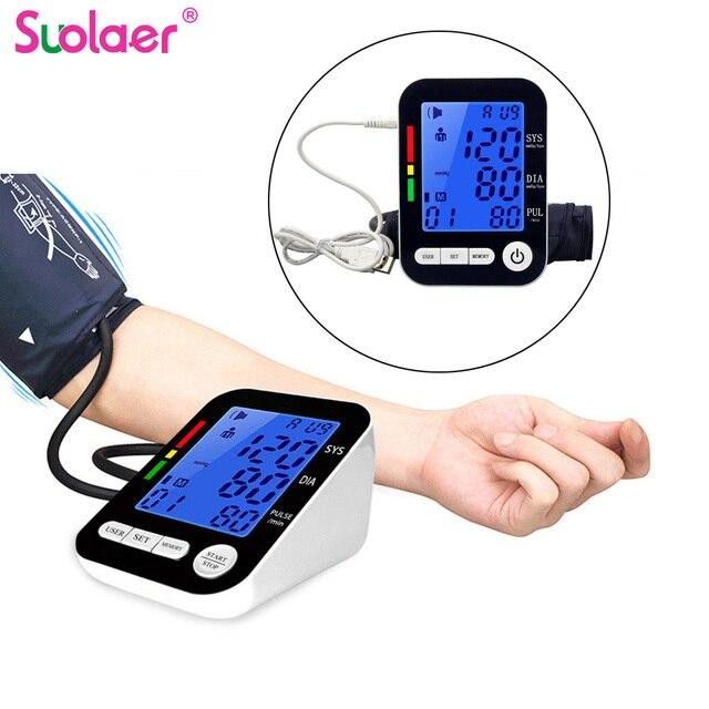 USB Automatic LCD HD Digital Monitor di Pressione Sanguigna del Braccio Inglese Sfigmomanometro per la Misurazione della Pressione Arteriosa Medico