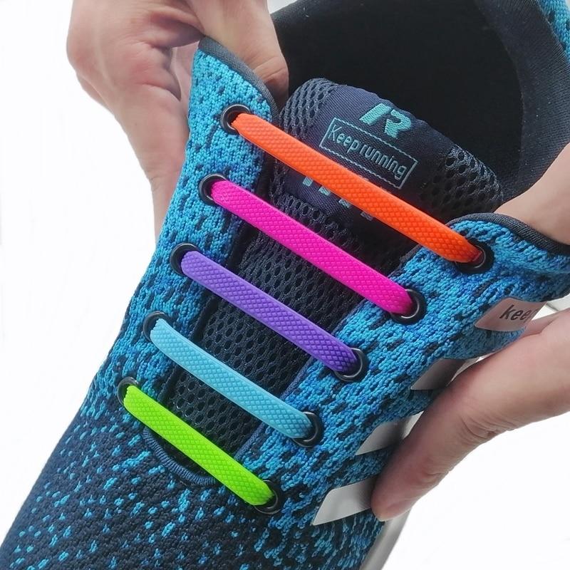 Silicone Elastic Shoelaces Fashion Unisex Athletic No Tie Shoe Lace All Sneakers Fit Quick Shoe Lace